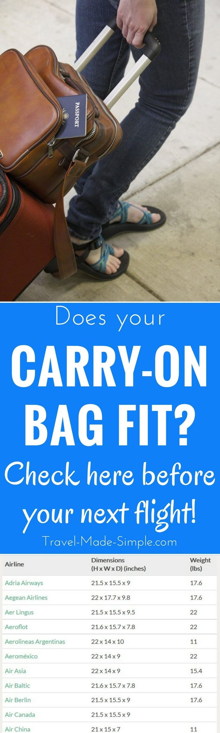 Don't show up at the airport with a bag that's too big to take as carry-on! Check the carry-on chart first. This carry-on luggage size chart provides sizes allowed by more than 150 airlines worldwide plus allowances and restrictions such as number of items and weight allowed. The chart lets you switch between imperial and metric measurements. | packing tips | packing carry-on only | flying carry-on only | carry-on size luggage | baggage allowances | hand luggage | cabin luggage