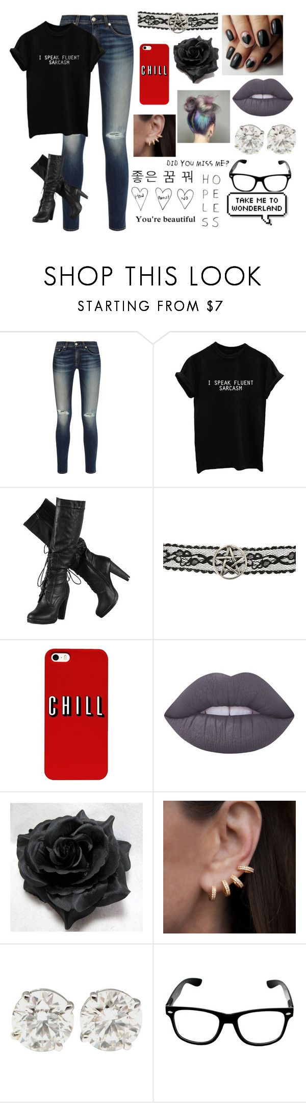 """Jaiden Smith"" by maya-fischbach on Polyvore featuring rag & bone, Lime Crime, Anne Sisteron, Prada and Kara"