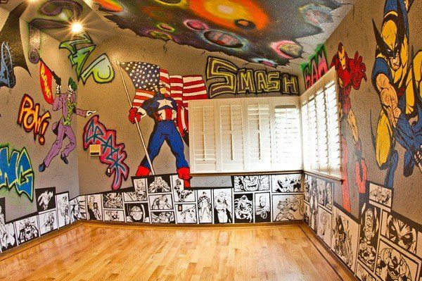 Superhero Painted Bedroom Wall - If don't want to spend so much on the decorations of your son's superhero room then how about having his bedroom walls painted with his favorite superheroes instead? This way you can just use plain decorations and a few superhero accents here and there.