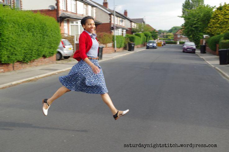 Hollyburn skirt pattern, Jessica Jones fabric at Saturday Night Stitch