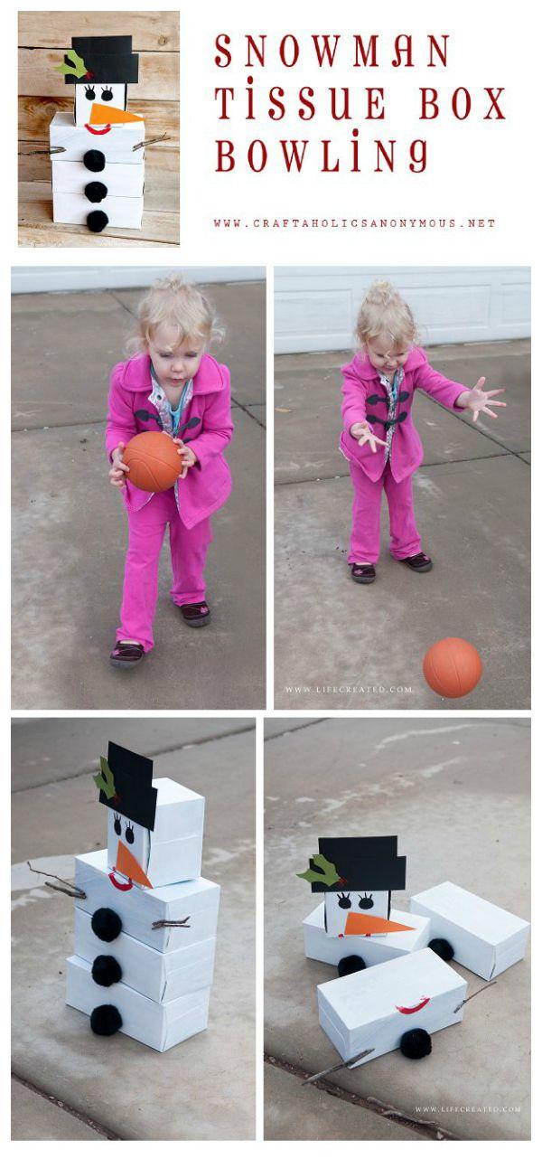 DIY Snowman Bowling game. What a cute idea! #winter #snowman #game