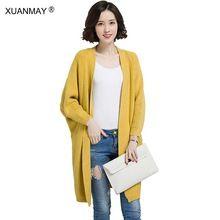 Mujeres de la moda Otoño chaqueta de punto Grueso abrigo 2017 nuevo estilo de la señora Cardigan otoño suéter estilo Largo De Brown Knit cardigan(China (Mainland))