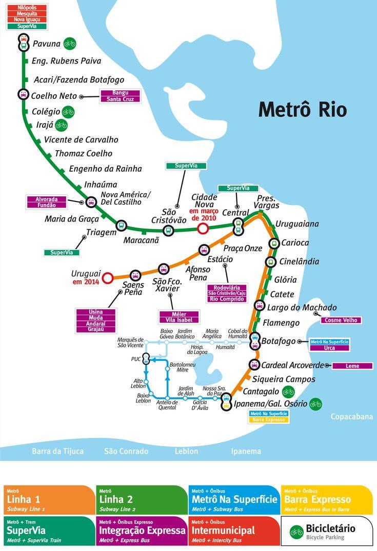 O #metrô do #Rio de #Janeiro foi inaugurado no dia 5 de março de 1979. Trata-se do segundo Sistema de Metrô mais utilizado do Brasil, com cerca de 780 mil passageiros por dia e um total de 280 milhões de passageiros por ano. O metrô conta com 41 estações divididas em 2 linhas, ao longo de 57 quilômetros de extensão. * Linha 4 com 5 estações e 16 kms será aberto ao público em breve.