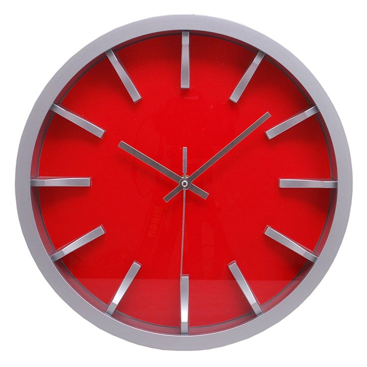 Watch Wall Clock, Silver With Red Dial