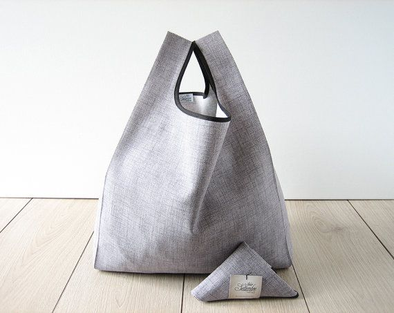 unisex tote bag / gray shopping bag / minimalist and elegant bag / italian cotton bag / triangle fold bag / edge in black ribbon / 1 piece - $17.00