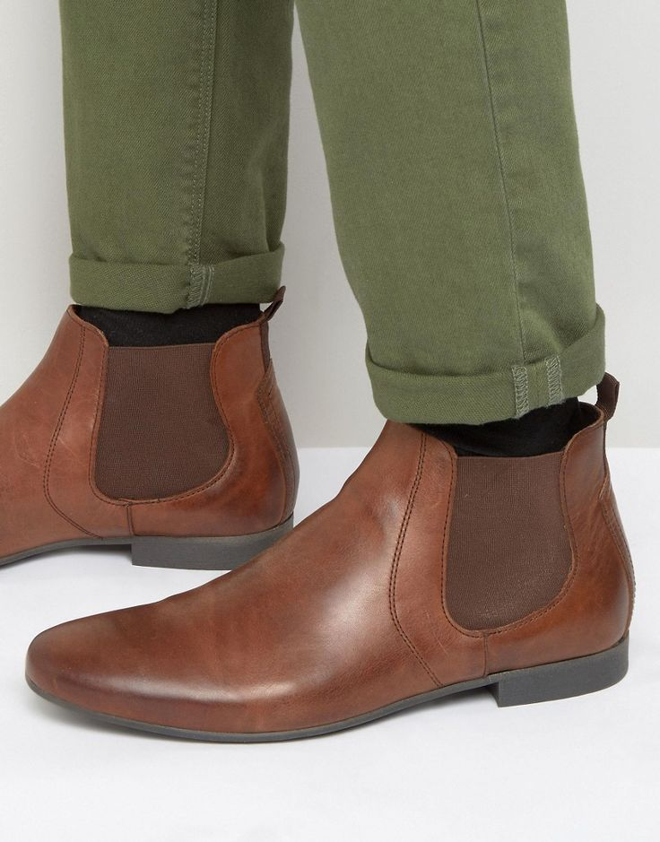 River+Island+Leather+Chelsea+Boots+In+Brown