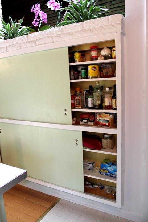 [sliding door kitchen cabinets, Our Modern Mess]