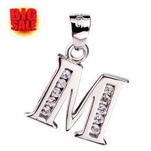 Fashion Letter M Necklace With name M initial Necklaces Solid sterling silver jewelry Simple Unit Pendant For Men Women Gift