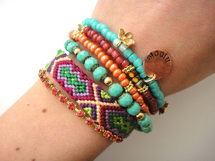 Bohemian gypsy bracelet in turquoise and tangerine - hippie style friendship bracelet with beads and rhinestones. €78.00, via Etsy.