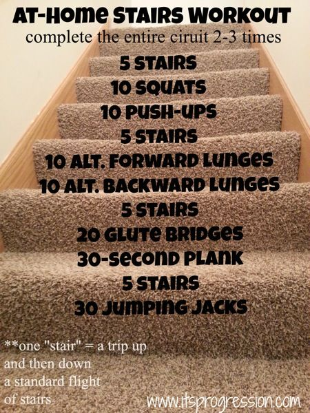 Great leg workout! Remember a stair is up and down stairs once :)