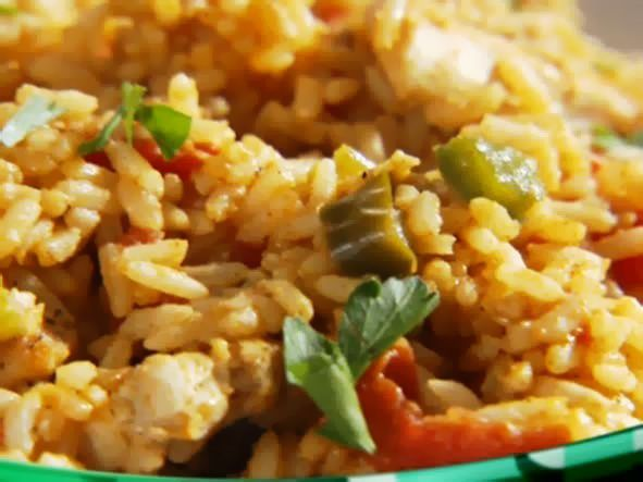Chicken Jambalaya Recipe : Sandra Lee : Food Network. Subbed with Gardein Chick'n Strips. Win.
