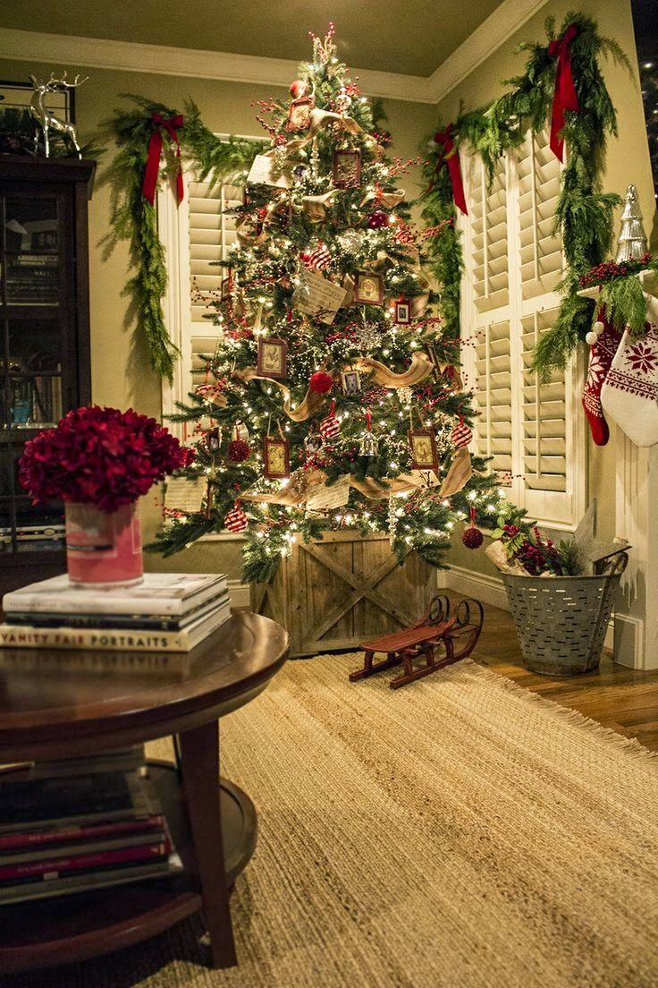 Red silver and jute ribbon christmas tree live garland for Red ribbon around tree