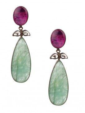 Ruby-Sapphire Drop Silver Earrings