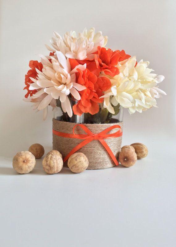 Rustic Home Decor, Rustic Table Decor, Farmhouse Decor, Rustic Vase, Country Decor, Jute Twine Vase, Wedding Table Centerpiece, Orange Vase