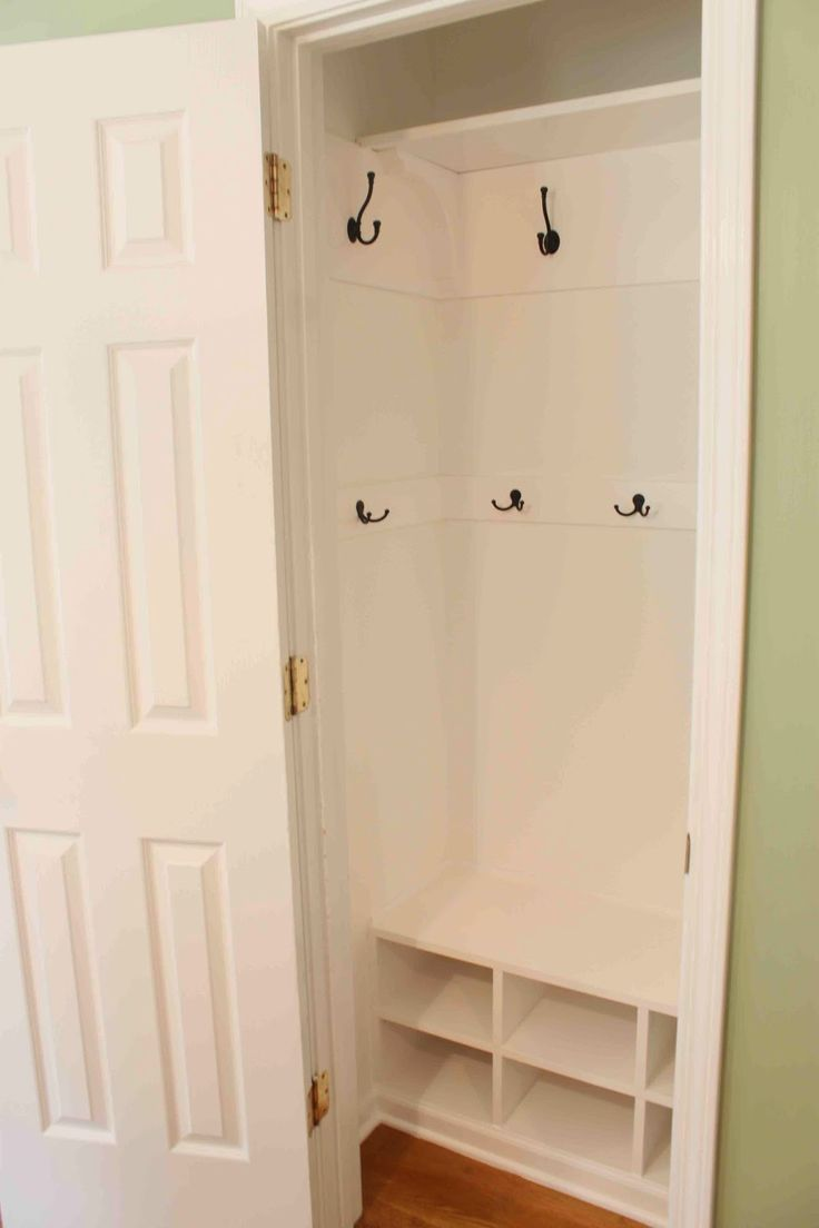 Green Street Blog. Before & After - hanging rod closet to tiny mudroom.