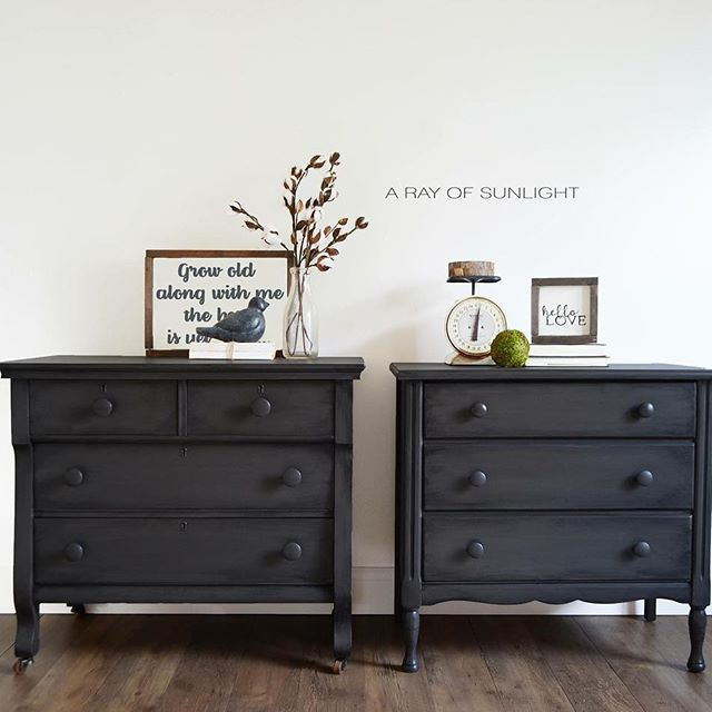 Mix Matched Grey Nightstands From Old Vintage Dressers That Were The Same Size Painted The Same With Furniture Bedroom Furniture Dresser Living Room Furniture