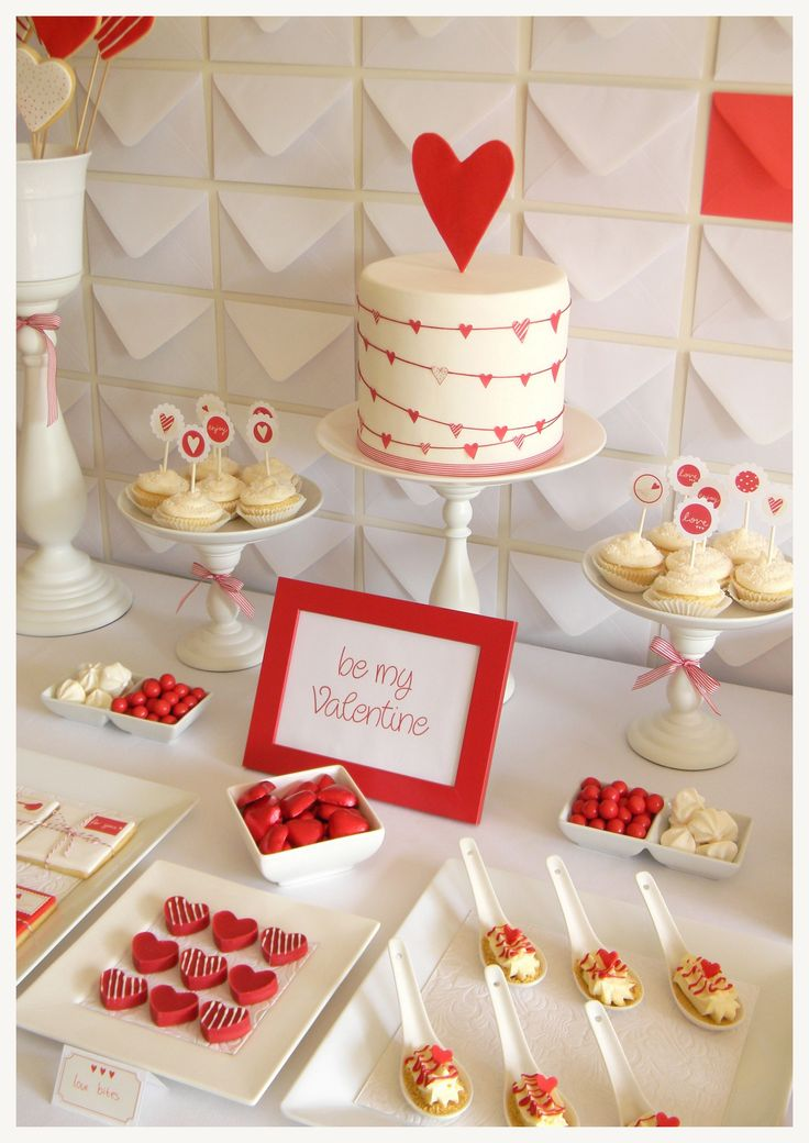 Red and white desert buffet table