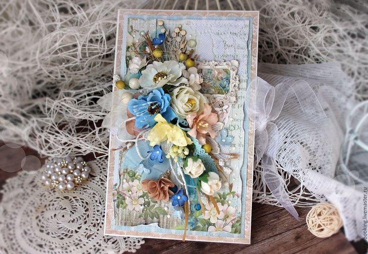 Купить Цветочная открытка - голубой, открытка, Открытка ручной работы, красивая работа, на День рождения