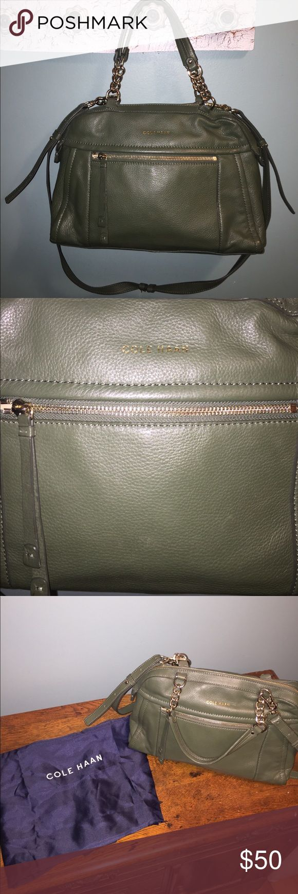 Cole Haan purse Cole Haan satchel with two grab handles and shoulder strap. Front zip pocket. Inside zip pocket. Minor wear on bottom edges as seen in pictures. Small scuff on front as seen in pictures. Only noticeable upon close inspection. Comes with dust bag. Beautiful muted green. I have received a lot of compliments on this bag Cole Haan Bags Satchels