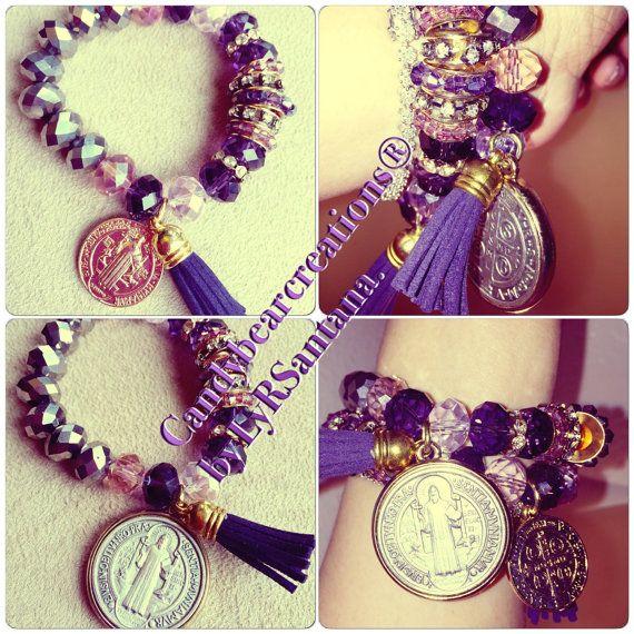 Strech bracelet crystal austriaco con medallon de por LBAaccesorios