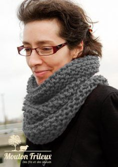 """Kit tricot snood """"mousse"""" Anthracite."""