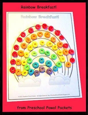 Preschool Powol Packets: {FREE} Rainbow Breakfast Printable: Preschool Activities, Preschool Powol, Breakfast Printable, Powol Packets, Science Experiment, Free Printable, Preschool Science, Rainbows Snacks, Rainbows Breakfast
