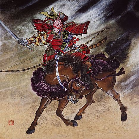 """Minamoto no Yorimitsu (948-1021) He is general of mid term of Heian era. The scene to which he fights with the monster """"Shuten Doji"""" is drawn in this picture."""