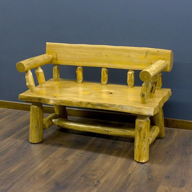 Cedar Lake The Morgans Log Bench with Arms in Honey Finish