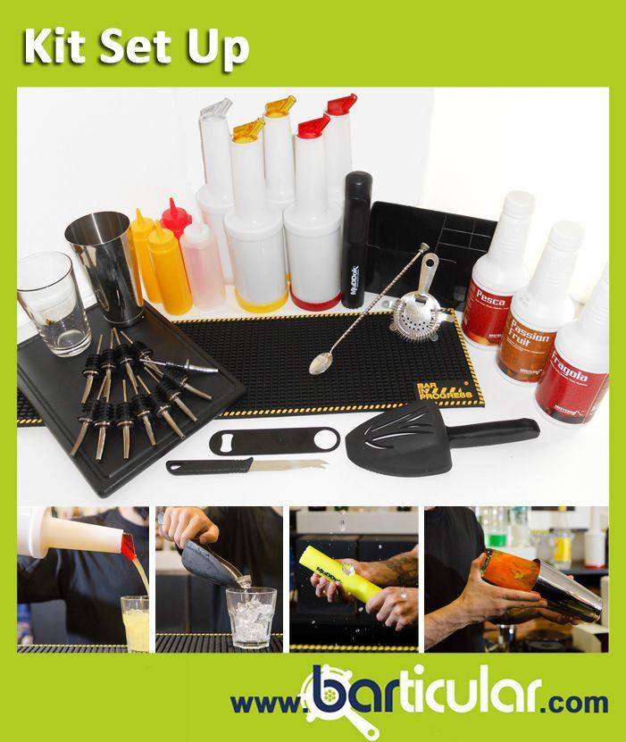 Kit di accessori per allestire una postazione bar completa, contiene anche 3 bottiglie di polpe di frutta. http://www.barticular.com/store/kit-completi-barman/set-up-accessori-per-allestimento-postazione-bar