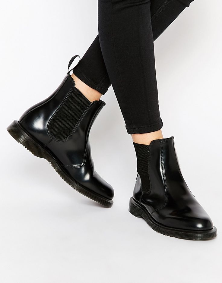Dr Martens Kensington Flora Black Chelsea Boots Smooth leather upper  Pull-on style Elastic detailing Back tab Almond toe Air-cushioned sole  Treat with a ...