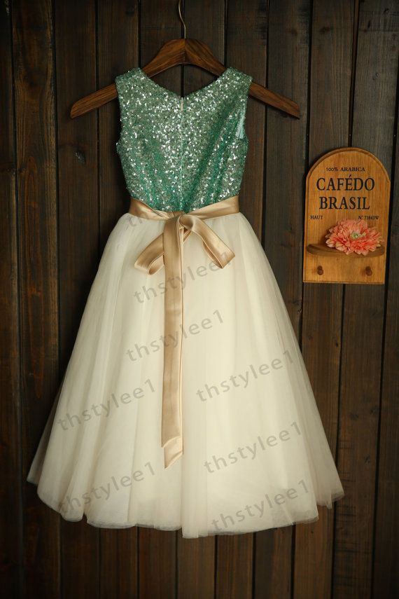 Mint Blue Sequin Ivory Tulle Flower Girl Dress with Champagne Sash Bow Wedding Children Easter Bridesmaid Communion Baptism Dress
