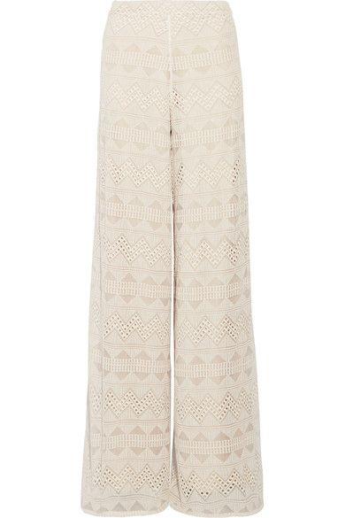 Alice Olivia - Athena Embroidered Silk-voile Wide-leg Pants - Ecru - US10