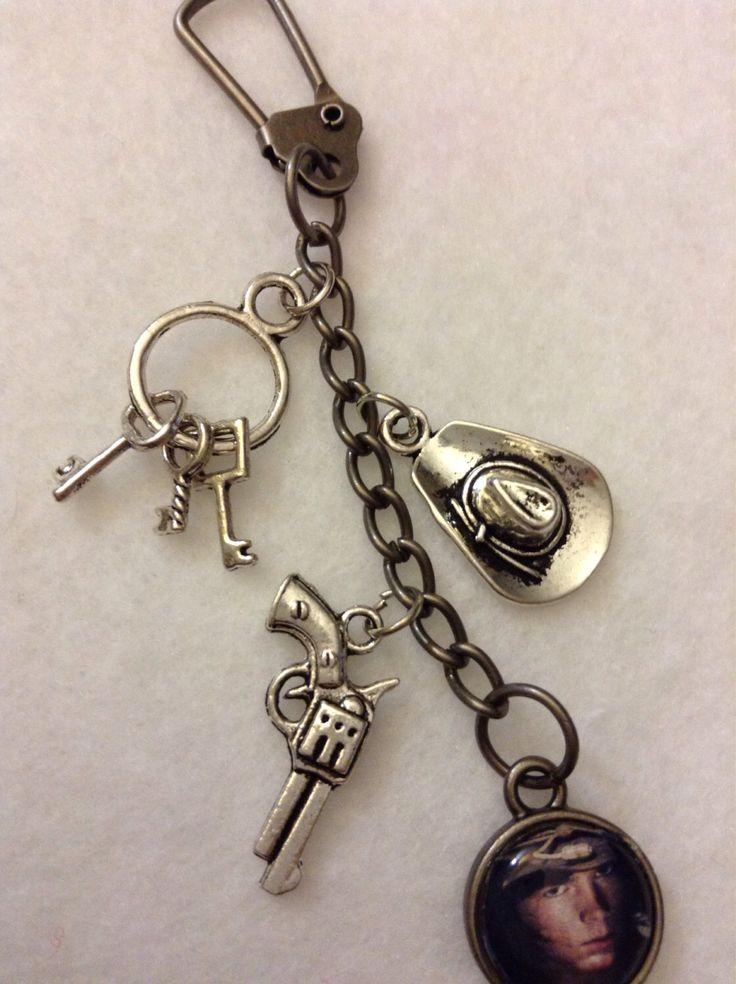 "Carl Grimes ""The Walking Dead"" Keychain Zipperpull Gun Sheriff Hat Prison Keys Silver Charms Chandler Riggs Jewelry by 1NerdCreations on Etsy https://www.etsy.com/listing/205730461/carl-grimes-the-walking-dead-keychain"