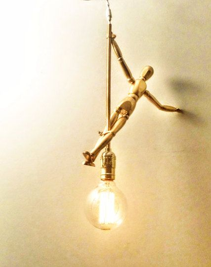Tiny Dancer Pendant Light Wood Art Figurine by ContemporaryRust