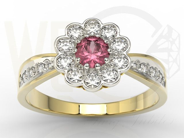 Pierścionek w kształcie kwiata z żółtego złota z rubinem i diamentami/ Flower-shaped ring made from yellow gold with diamonds and ruby / 3430 PLN #jewellery #jewelry #gold #ring