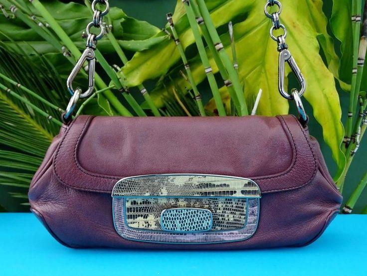 PRADA Purple Leather Multi-Color Lizard Lock Chain Strap Shoulder ...
