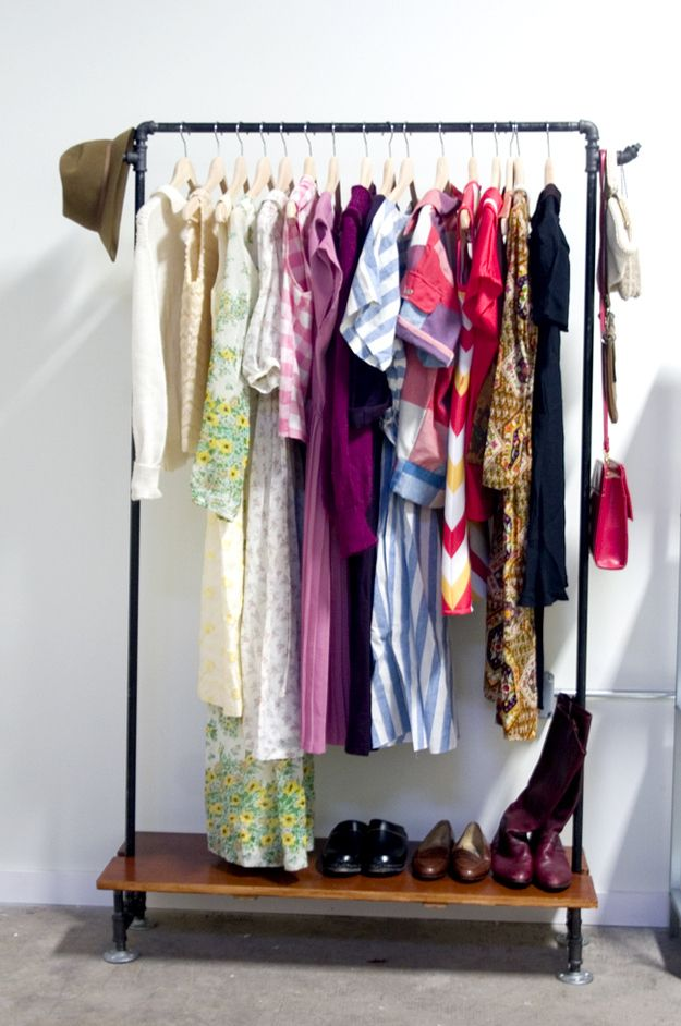 Here's a simpler (but still classy) DIY rack. | 25 Lifehacks For Your Tiny Closet