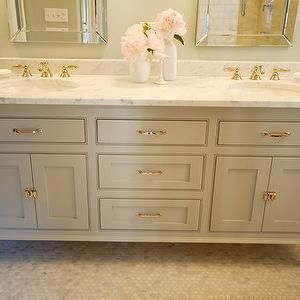 honed carrera marble, honed carrera marble hex tiles, honed carrera marble hex floor, gray green walls, his and her mirrors, his and her bathroom mirrors, Benjamin Moore Fieldstone, Allen + Roth Arch Frameless Mirror,