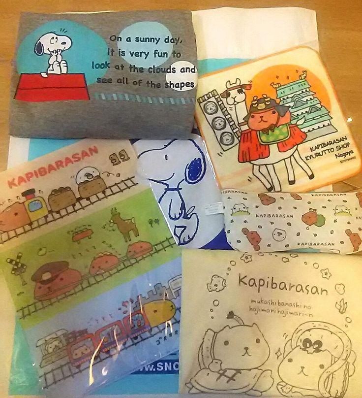 大阪で購入したお土産たち。最近はキャラクターTシャツも1000円均一で売ってるのでキケン(笑)つい好きなデザインは買ってしまいます👕 These are sovenior of Osaka one day trip, LOVE cute stuff so much💛 #大阪 #カピバラさん #リャマさん #かわいい #スヌーピー #地域限定 #Tシャツ #キャラT