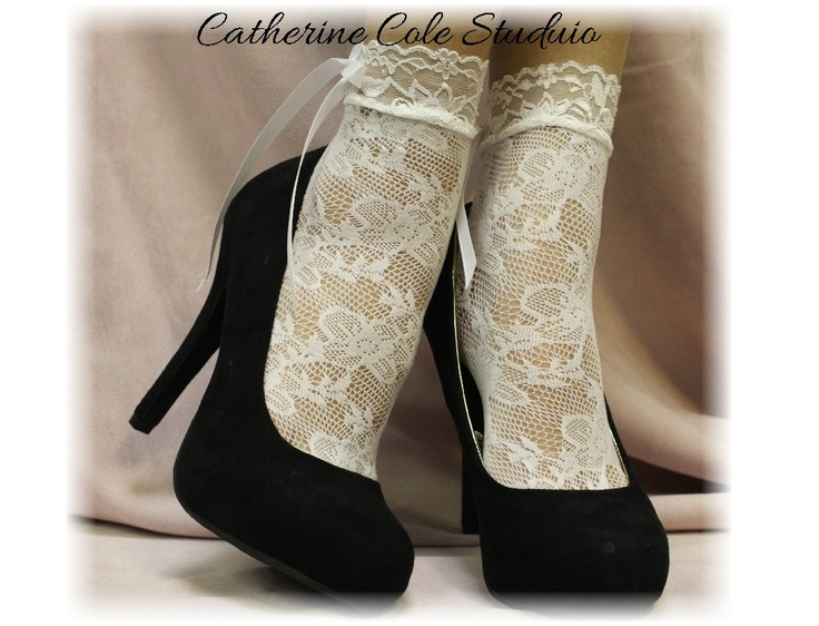 """WHITE Baby doll Lace socks for heels retro 80""""s look"""