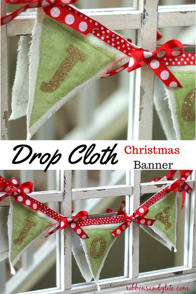 Best 25 diy christmas banner ideas on pinterest diy christmas diy christmas banner made with drop cloths and iron on vinyl drop cloths are such solutioingenieria Choice Image