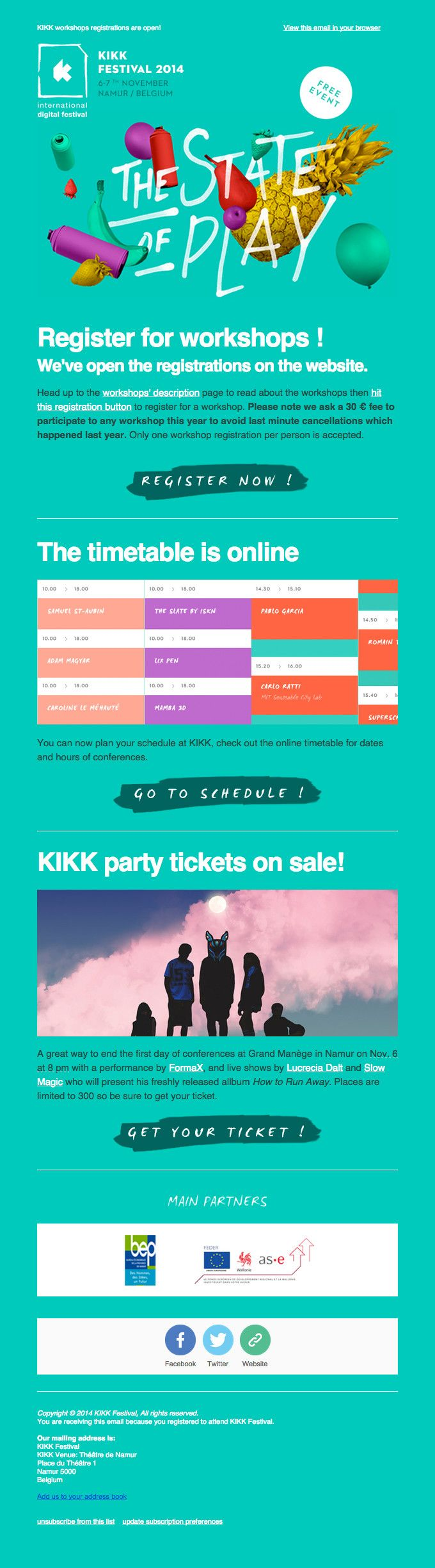 Playful Open Event Email Design From Kikk Festival   Really Good Emails