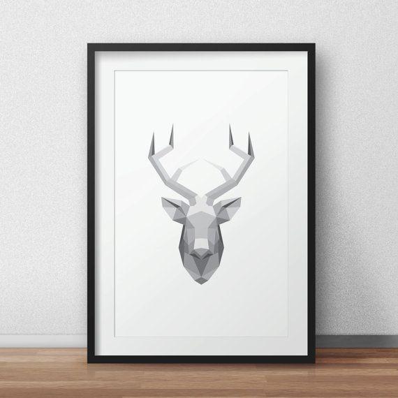 Geometric Deer Deer art Geometric Animal Deer by AnnyDigitalDesign