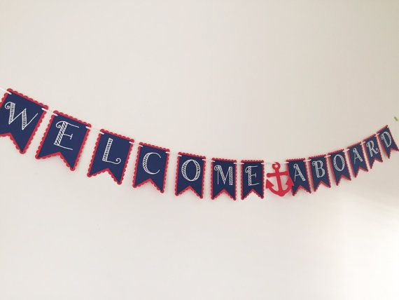 Welcome Aboard Nautical Baby Shower Banner by HoneygoDesigns