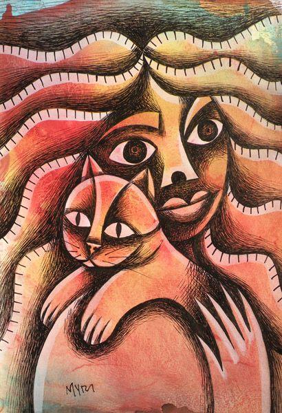 CHICA CON GATO tempera y tinta. Conéctate con tus emociones y sentimientos a través del arte. | Connect with your emotions and feelings through art. #dibujo #arte #art