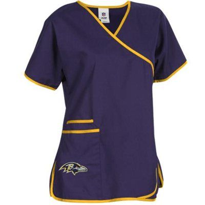 Baltimore Ravens Ladies Nfl Mock Wrap Scrub Top Purple
