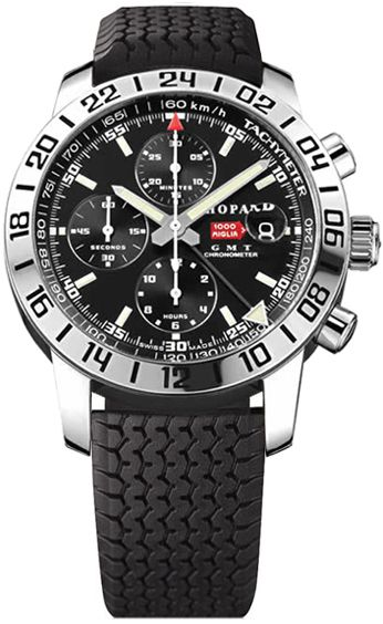 168992-3001  NEW CHOPARD MILLE MIGLIA MENS WATCH       Usually ships within 3 months - Click to view IN STOCK Specials - FREE Overnight Shipping- No Sales Tax (Outside California)  - With Manufacturer Serial Numbers- Black Dial - Chronograph Feature- Self Winding Automatic Chronometer Movement- Sapphire Crystal Exhibition Case Back - 3 Year Warranty- Guaranteed Authentic - Certificate of Authenticity- Polished Steel Case  - Black Rubber Strap - Scratch Resistant Sapphire Crystal…