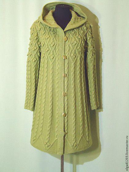 """Вязаное пальто """"Лоза """" - оливковый,однотонный,ярмарка мастеров,авторская ручная работа"""