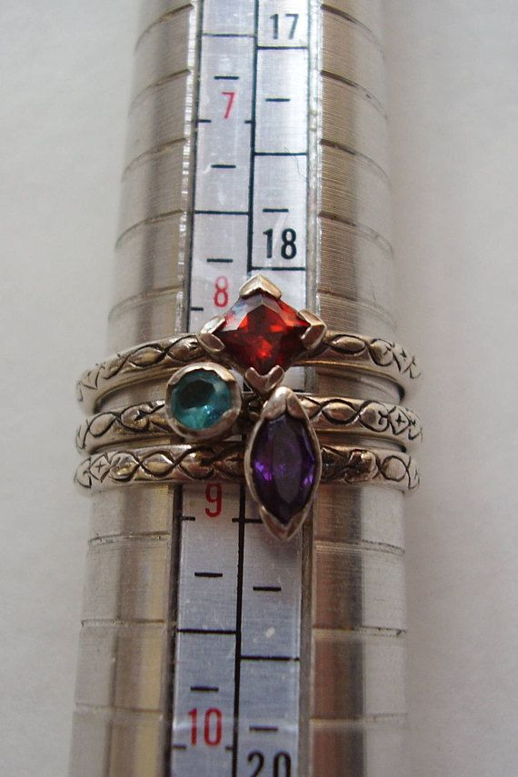 3 Stacking Rings Silver Celtic style single stone Amethyst