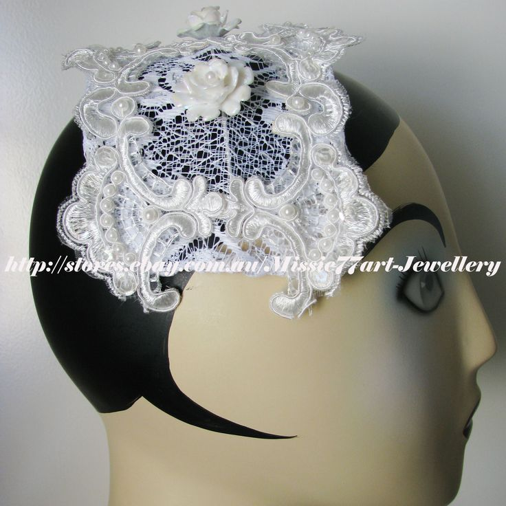 This new hat is made with vintage designing - Gatsby inspired Lace Bridal Cap Tiara Hat Wedding Headpiece with Roses by Missie77art Jewellery on ebay